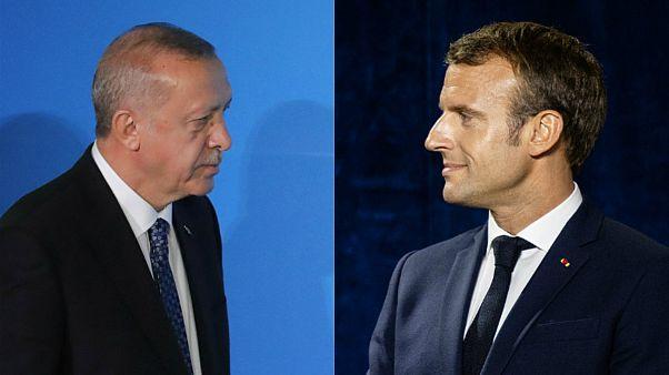 الرئيس الفرنسي إيمانويل ماكرون ونظيره التركي طيب رجب أردوغان