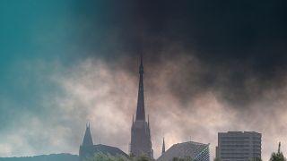 Le nuage de fumée à Rouen, le 26 septembre.