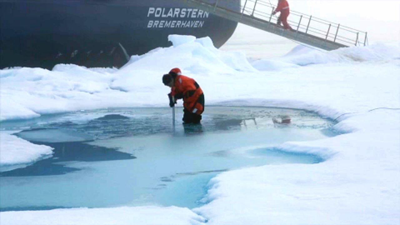 Térdig gázolnak a kutatók a vízben, annyira felolvadt a sarkvidék jege