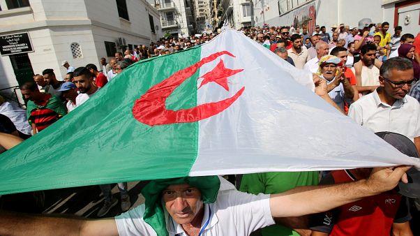 المتظاهرون يحملون العلم الوطني خلال احتجاج في الجزائر 1 أكتوبر/ تشرين الأول