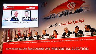 الهيئة العليا المستقلة للانتخابات خلال الإعلان عن نتائج الجولة الأولى من الانتخابات الرئاسية في تونس