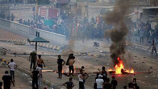 جانب من المظاهرات التي تعم العاصمة العراقية احتجاجاً على سوء الأوضاع الاقتصادية 2 تشرين الأول/ أكتوبر 2019