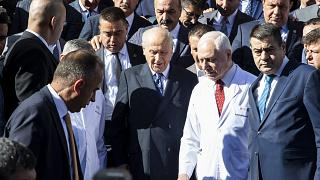 MHP Genel Başkanı Devlet Bahçeli, tedavi gördüğü Başkent Üniversitesi Ankara Hastanesi'nden taburcu edildi. ( Emin Sansar - Anadolu Ajansı )