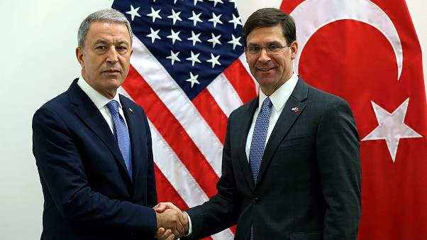 BRUSSELS, BELGIUM - JUNE 26: Turkey's Minister of National Defence, Hulusi Akar (L) meets acting Defense chief of United States Mark Esper