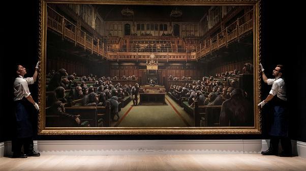 Banksy artwork depicting chimps in British parliament sells for £9.8 million