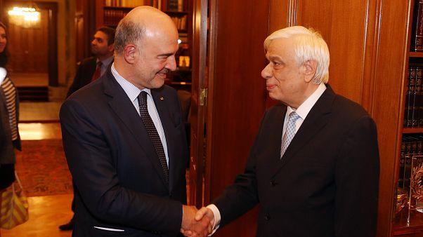Ο Πρόεδρος της Δημοκρατίας, Προκόπης Παυλόπουλος υποδέχεται τον Πιερ Μοσκοβισί