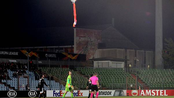 Europa League football match halted by drone flying flag of disputed Nagorno-Karabakh