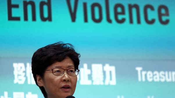 Hong Kong Chief Executive Carrie Lam attends a news conference to discuss sweeping emergency laws at government office in Hong Kong, China October 4, 2019