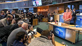 Sylvie Goulard antes de su audiencia