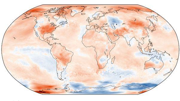 Anomalía de temperaturas respecto a la media en septiembre de 2019