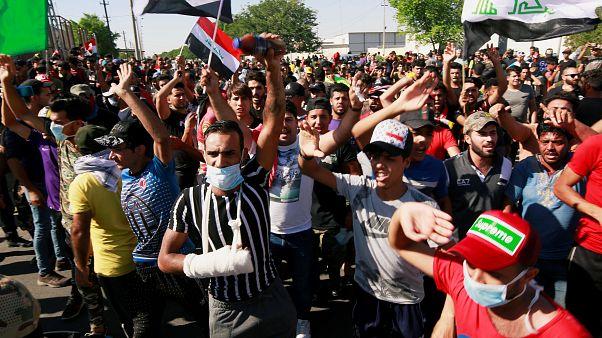 صورة للمتظاهرين العراقيين
