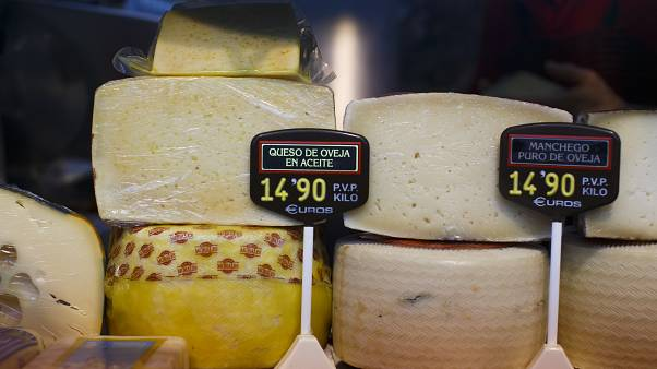 FILE PHOTO: Spanish goat cheese is seen on sale at the Anton Martin market in Madrid, Spain, March 7, 2016.