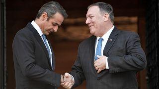 Yunanistan Başbakanı Kiriakos Miçotakis / ABD Dışişleri Bakanı Mike Pompeo / Atina