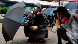 Tear gas  fired at protesters in Hong Kong during protests