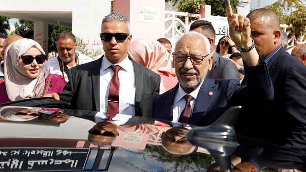 رئيس حزب النهضة راشد الغنوشي يوم الانتخابات التشريعية في 2019/10/06 في تونس.