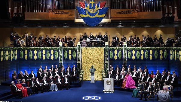 A 2018-as Nobel-díjak átadási ünnepsége a stockholmi hangversenyteremben