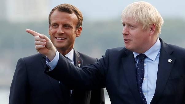 Emmanuel Macron and Boris Johnson at the G7 summit in Biarritz, France August 24, 2019.