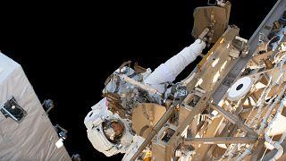NASA astronaut Christina Koch participates in her first spacewalk on March 29, 2019.