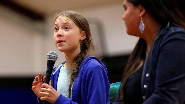Climate change environmental activist Greta Thunberg in Pine Ridge, South Dakota, U.S. October 6, 2019.