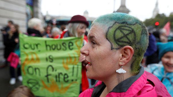 Extinction Rebellion activists glue hands to ground  in central London