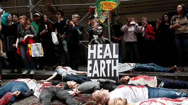Protesto em Nova Iorque incluiu derrame de sangue falso em Wall Street