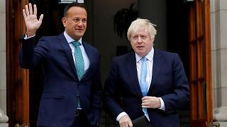Leo Varadkar with Boris Johnson in Dublin, Ireland, September 9, 2019.