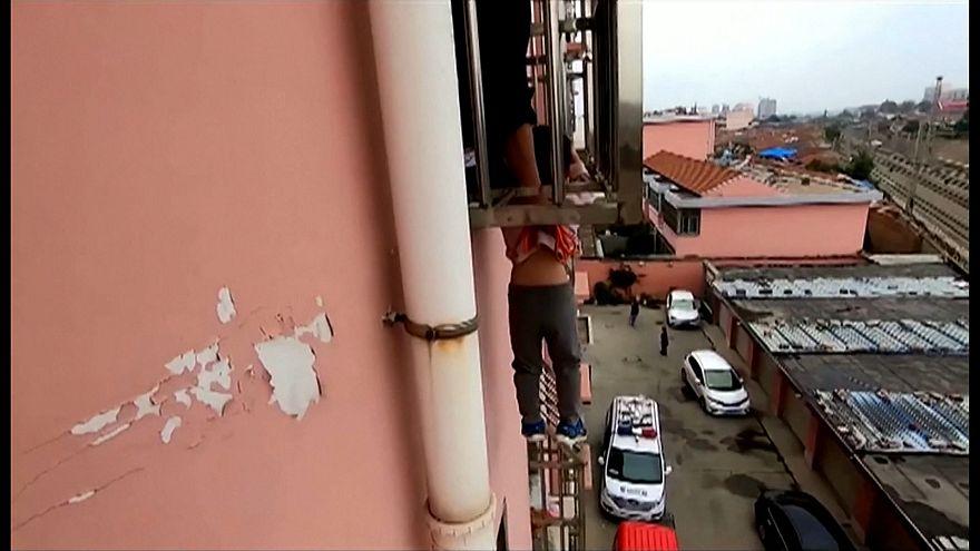Rescate de altura en China