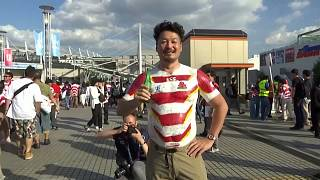 Japanese rugby fan uses his body to show World Cup support