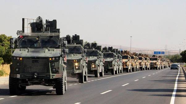 A Turkish miltary convoy is pictured in Kilis near the Turkish-Syrian border
