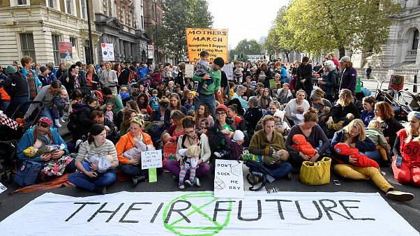 Breast and bottle feeding mothers take part in the Extinction Rebellion protest in London, Britain October 9, 2019