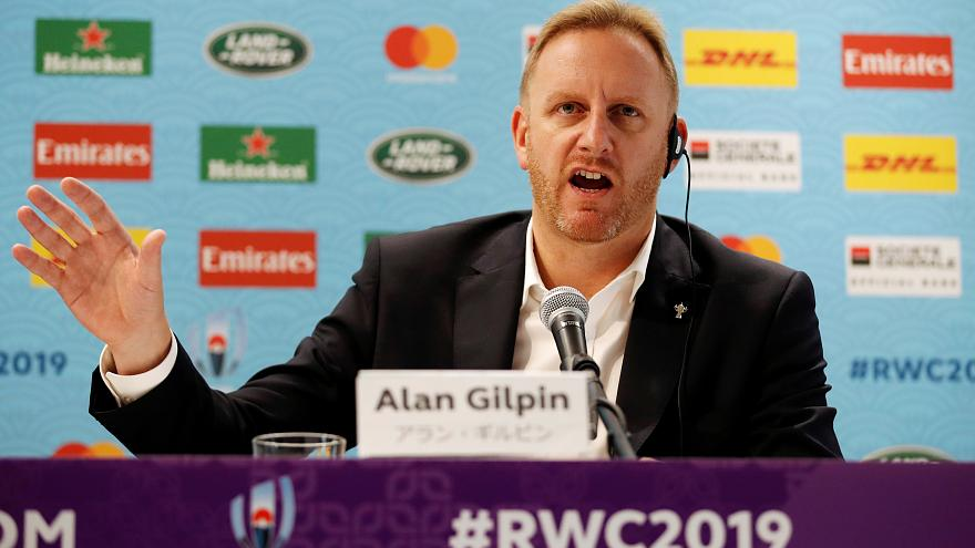 World Rugby Chief Operating Officer and Tournament Director Alan Gilpin during the press conference on October 10, 2019.