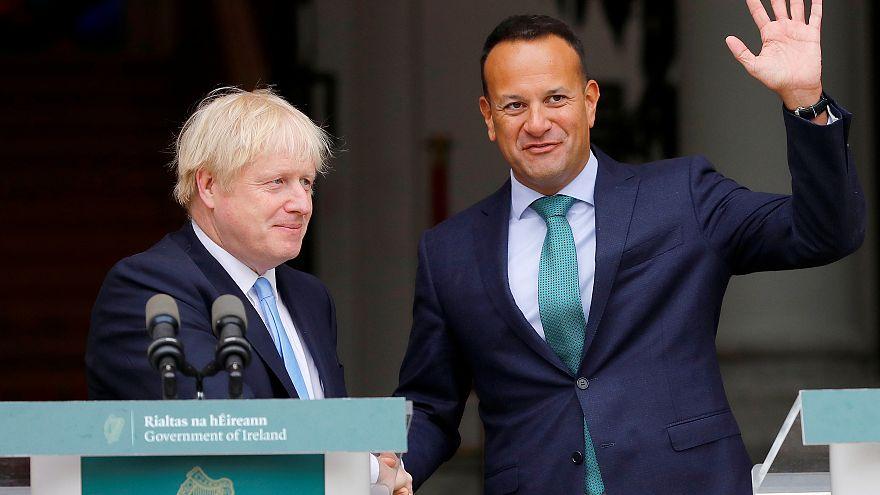 British and Irish prime ministers Boris Johnson and Leo Varadkar meet in Dublin, Ireland, September 9, 2019.