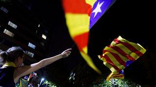 مؤيدو انفصال كتالونيا يحييون الذكرى الثانية لاستفتاء الاستقلال في برشلونة، أكتوبر 2019