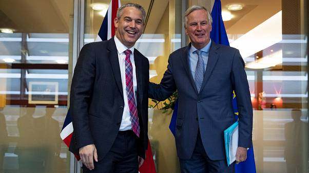 Britain's Brexit Secretary Stephen Barclay and EU's chief Brexit negotiator Michel Barnier in Brussels, Belgium, October 11, 2019