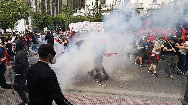 Ένταση στην πορεία των φοιτητών στο κέντρο της Αθήνας