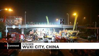 ویدیوی تکاندهنده از لحظه فروریختن یک پل در چین
