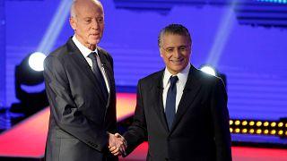 مرشحا الرئاسة التونسية قيس سعيد ونبيل القروي قبل مناظرتهما التلفزيونية 11 أكتوبر 2019