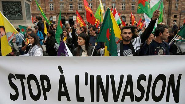 تظاهرات کردها در استراسبورگ علیه حمله ترکیه به سوریه