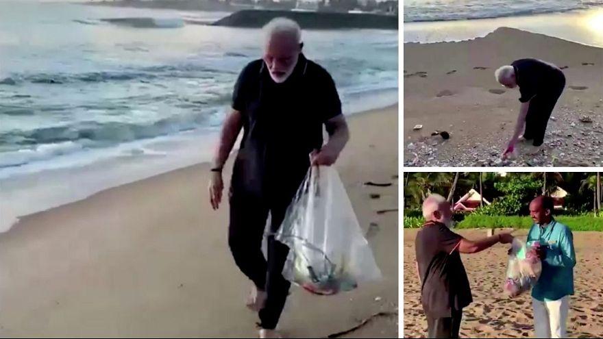 نخست وزیر هند پیش از دیدار با رئیس جمهوری چین زبالههای ساحل را جمعآوری کرد