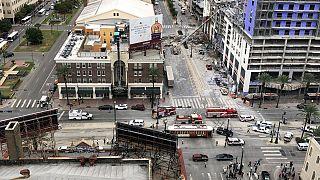 ریزش بخشی از یک هتل در حال ساخت در آمریکا