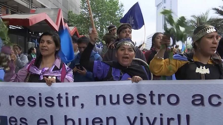 Indigenous groups in Chile stage rights march