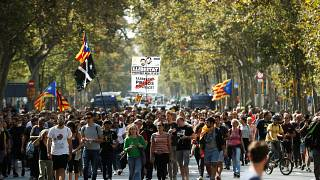 Supporters of Catalonia's independence protest against upcoming ruling of the Spanish Supreme Court against the independence movement's leaders, in Barcelona, Oct 13, 2019.