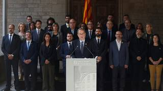 Catalunya's President Quim Torra, accompanied of Parliament President Roger Torrent, delivers a statement at the Catalan regional Parliament in Barcelona, Spain.