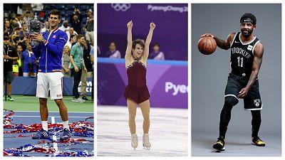 L-R: Novak Djokovic, Meagan Duhamel and Kyrie Irving