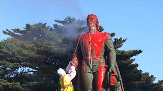 Christopher Columbus statue vandalised with red paint in San Francisco