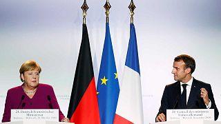Le président français Emmanuel Macron et la chancelière allemande Angela Merkel, le 16 octobre 2019 à Toulouse