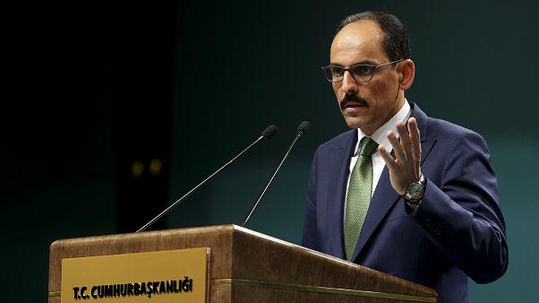 Cumhurbaşkanlığı Sözcüsü İbrahim Kalın, düzenlediği basın toplantısında açıklamalarda bulundu. ( Erçin Top - Anadolu Ajansı )