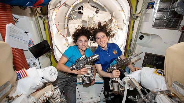NASA astronauts Jessica Meir (left) and Christina Koch in the ISS on October 15, 2019.