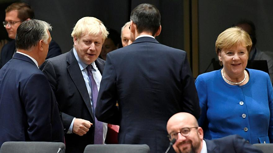 EU leaders including Boris Johnson and Angela Merkel attend a summit in Brussels on October 17, 2019.