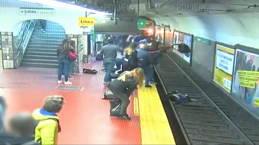 Commuters help save woman who fell onto train tracks in Argentina